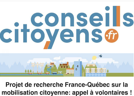 Projet de recherche France-Québec sur la mobilisation citoyenne: appel à volontaires !